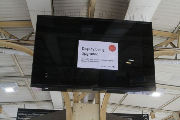 New LCD platform summary boards waiting to be commissioned at Flinders Street Station