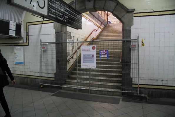 Stairs to platform 4 and 5 closed while the Red Engine kiosk above is being demolished
