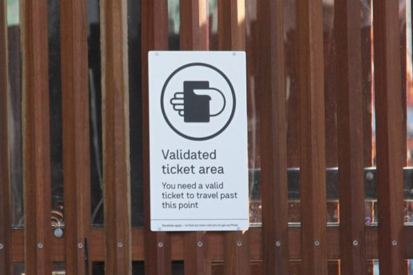 New style 'Validated ticket area' at the new Yarra River entrance to Flinders Street platform 10