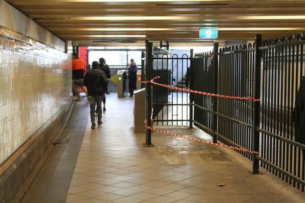 Myki gate removed at the south end of the Elizabeth Street subway