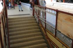 Repainted sections of balustrade in place at platform 8 and 9