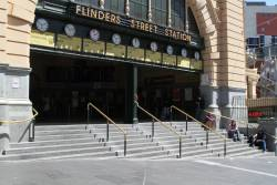 Empty steps at Flinders Street Station