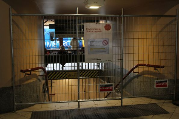 Steps down to the Degraves Street subway closed for works