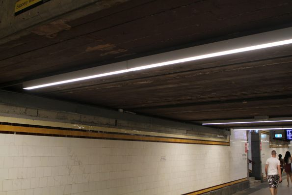 New LED strip lighting in the Centre Subway at Flinders Street Station