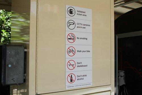 Transport for Victoria style signage at Flinders Street platform 10