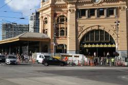 Hostile vehicle security upgrade works along the Swanston Street frontage of Flinders Street Station
