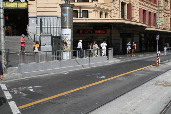 Concrete wall forms part of the hostile vehicle security upgrade works along Flinders Street