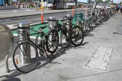 Bikes parked along the steel bollards that form part of the hostile vehicle security upgrade works