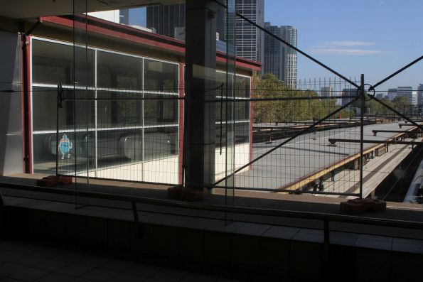 Temporary fencing still in place on the 'balcony' above the platforms