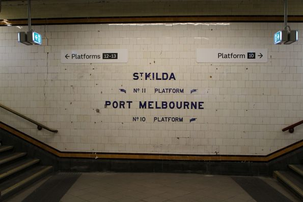 New platform signage at the west end of the Centre Subway at Flinders Street Station
