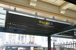 New directional signage above the Degraves Street entrance to Flinders Street Station