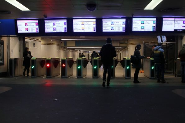 New LCD next train displays and Vix myki gates at the Degraves Street subway entrance