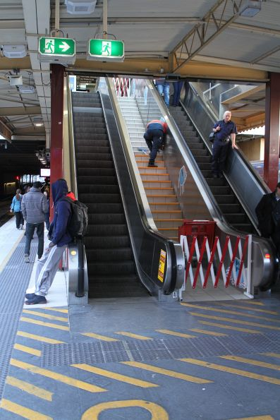 Installing new stair treads at platform 4 and 5