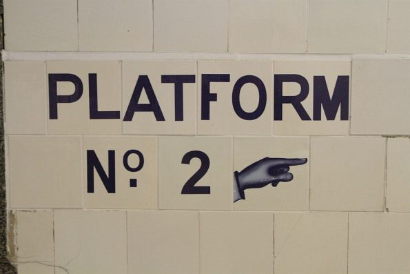 Reproduction 'Platform 2' signage in the Centre Subway