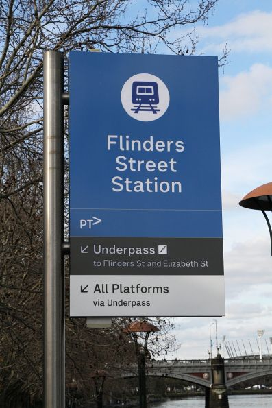 New style station signage at the river entrance to Flinders Street Station