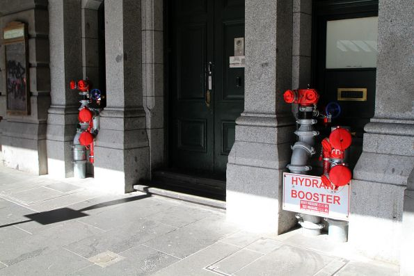 New fire hydrant booster pipes installed on the Flinders Street frontage