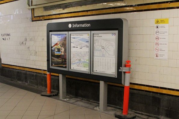 New information board in the centre subway at Flinders Street Station