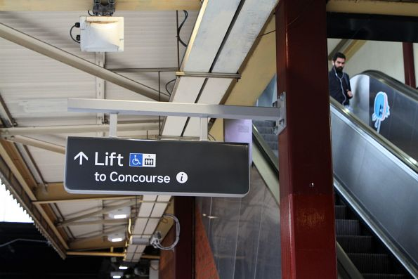 Finally unveiled - new lift signage at the east end of the Flinders Street Station platforms