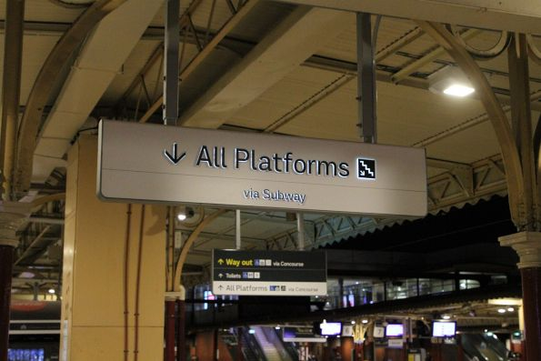 New style signage above the centre subway at Flinders Street Station
