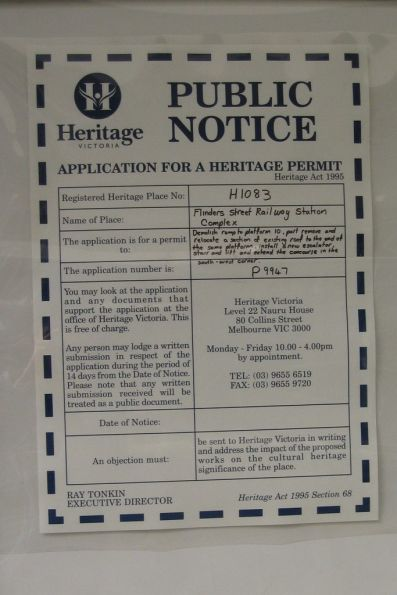 Public notice by Heritage Victoria to permit the demolition of the original ramps that served platform 10 and 11