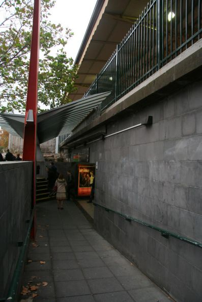 Looking west where Flinders Street platform 11 once was, now an entrance to the Elizabeth Street subway