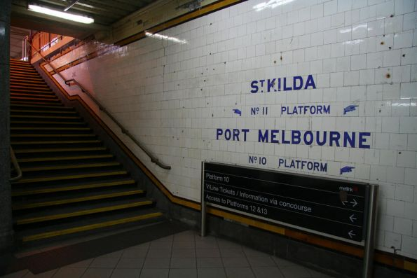 Steps up to platform 10/11 from the Centre Subway