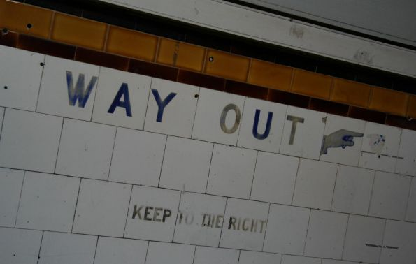 'Way Out' and 'Keep to the Right' tiles in the Elizabeth Street subway
