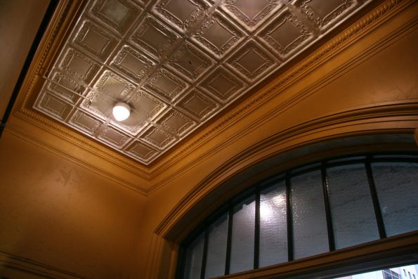 Ornate ceiling of the Elizabeth Street booking office