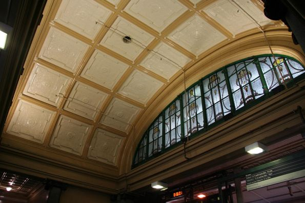 Ceiling and stained glass window above the Elizabeth Street entrance