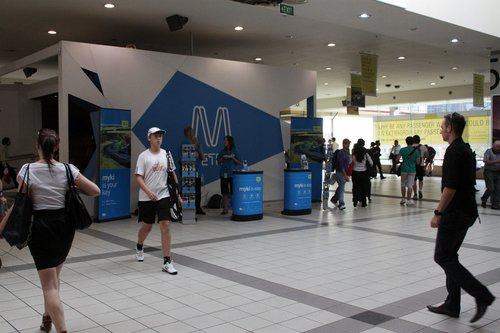 Myki stand on the concourse, outside the Metro information kiosk