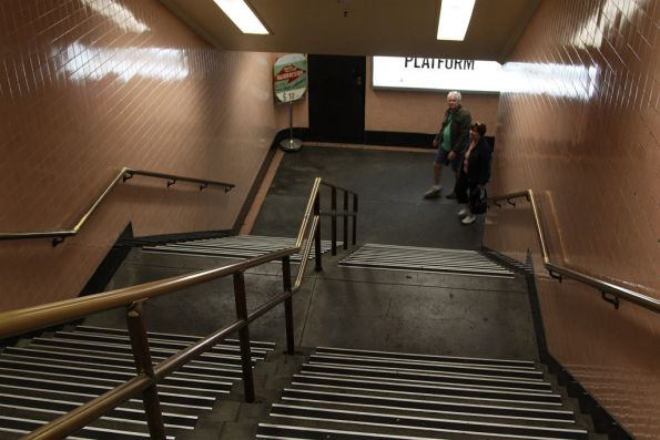 Northern entrance stairs to the Degraves Street subway