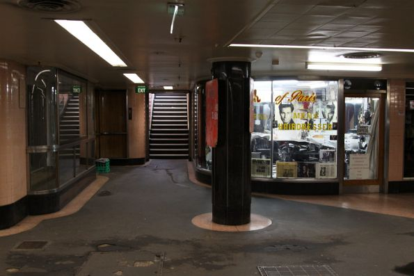 Eastern exit from the Degraves Street subway up towards Flinders Street
