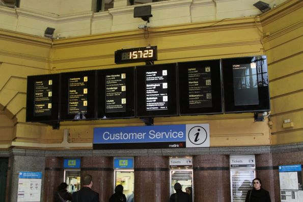 Next train displays above the ticket windows, at the main Flinders Street entrance