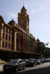 The  $200,000 Merry Christmas sign at Flinders Street Station finally on the way up