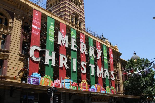 The massive 'Merry Christmas' sign at Flinders Street Station finally finished!