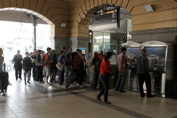 Bottleneck of passengers trying to enter the platforms from the Federation Square tram stop