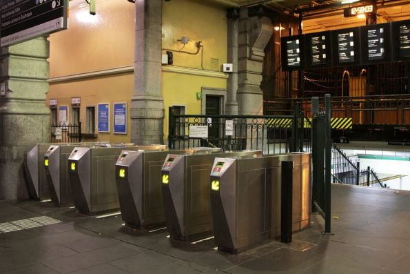Elizabeth Street entrance to Flinders Street station closed for the night