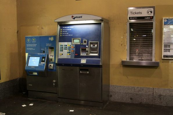Metcard and Myki machines beside the closed ticket office window