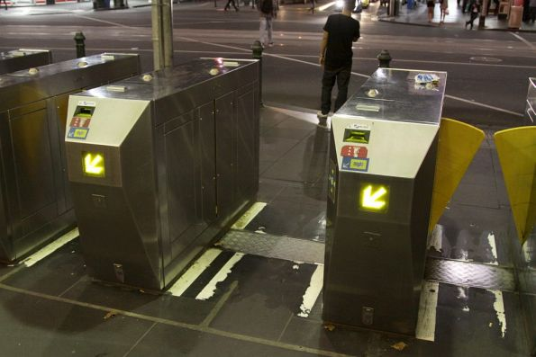 Metcard barriers still powered up at the Elizabeth Street entrance, even though platform access is impossible