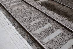 Relaid track with concrete sleepers on platform 1