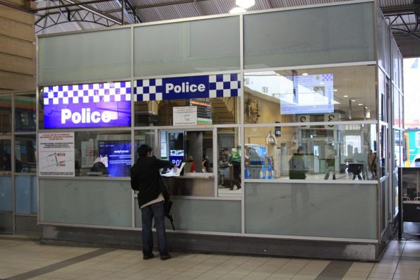 Renovated police booth on the Swanston Street concourse of Flinders Street Station