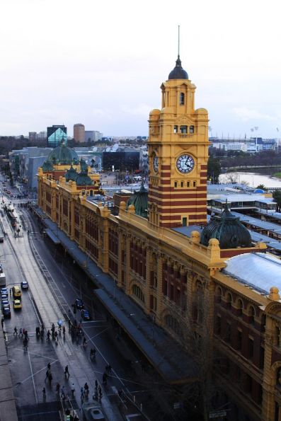 Looking east down Flinders Street past the Elizabeth Street clocktower