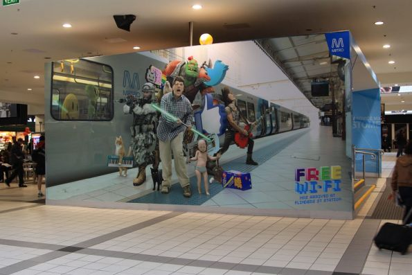 Massive poster promoting free Wi-Fi now available at Flinders Street Station