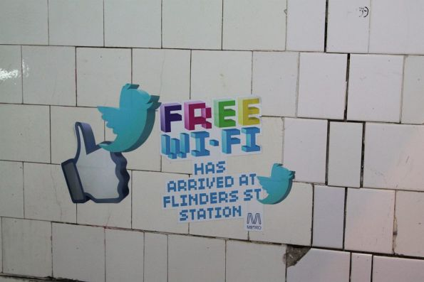 Free Wi-Fi at Flinders Street Station, as the rest of the station falls apart