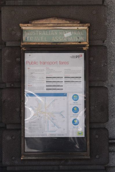 'Australian National Travel Association' poster case on the Flinders Street frontage