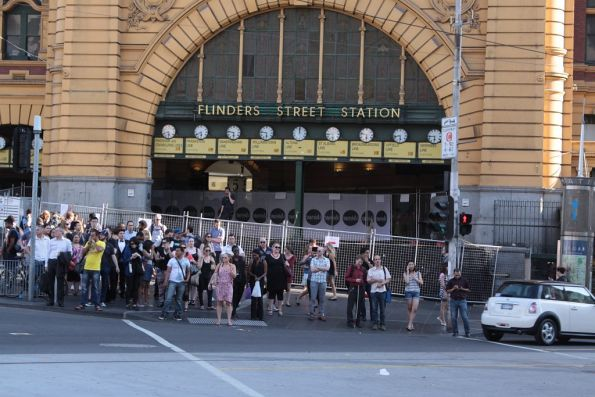 Main entrance to Flinders Street Station closed off due to the White Night festival