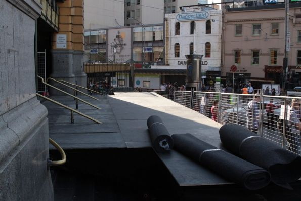 Stage for the White Night festival covers the main Flinders Street Station steps