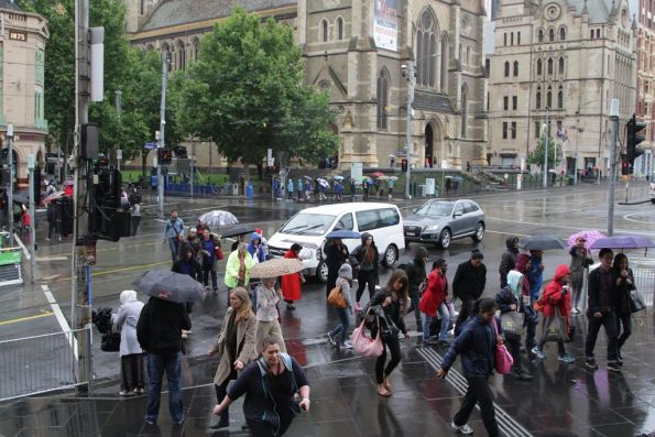 Pedestrians only get 20 seconds to cross Flinders Street - yet motorists try to take more time for themselves