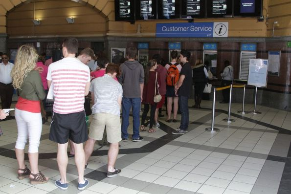 With uni going back soon, a long queue to get concession cards processed at Flinders Street Station