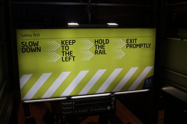 Escalator safety message above the escalators at Flinders Street Station